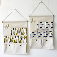 Waterproof Wall Hanging Bag With Hooks Storage Pouch Linen Pocket Hanging Holder Storage Bags Sundries Bag For Toys Home Decor
