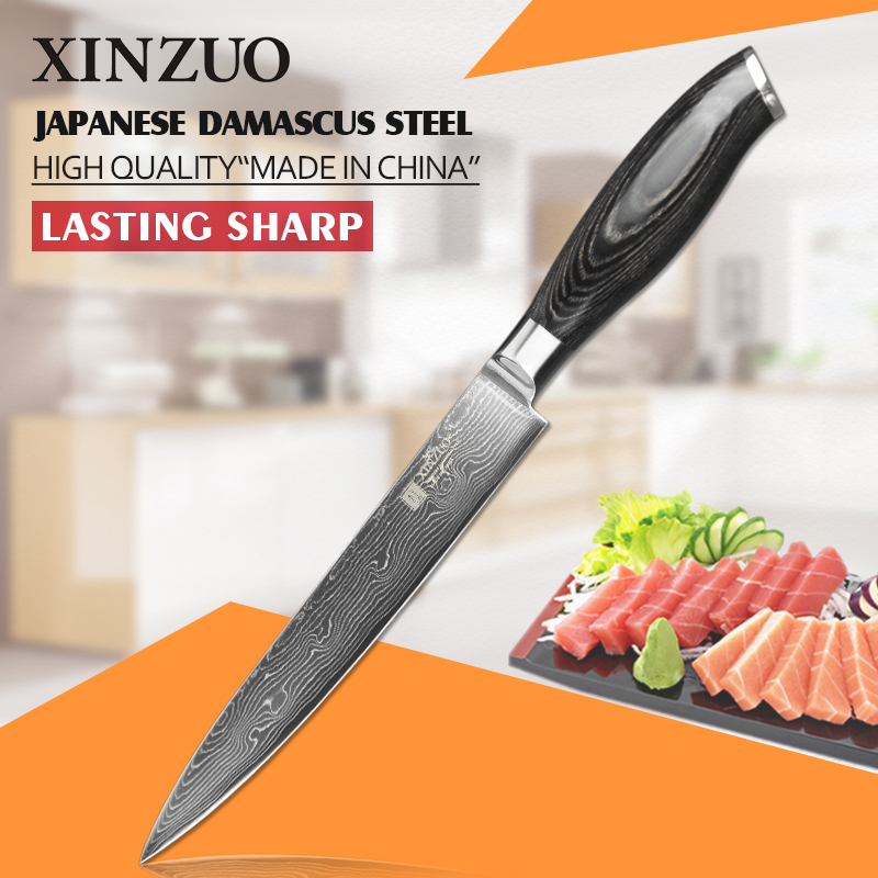 XINZUO HIGH QUALITY 8 inches cleaver font b knife b font 73 layers Damascus steel kitchen