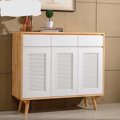 Shoe Cabinets Shoe Rack Home Furniture Shutter Door Solid Wood