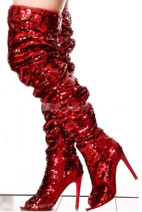2018 Autumn Winter Overknee Boots Peep Toe Bling Bling Sequin Thigh High  Stiletto Boots Red Green cd576b3dc4c4