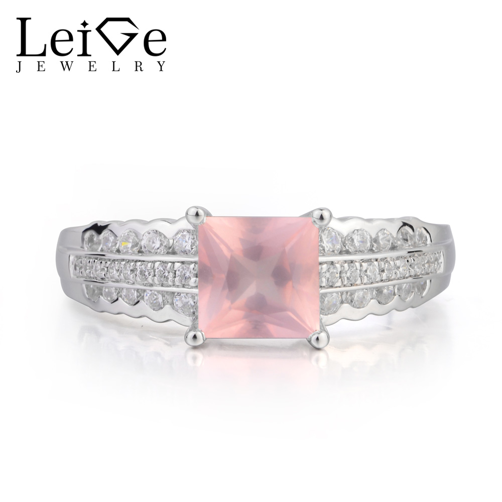 Leige Jewelry Real Natural Pink Quartz Ring Engagement Ring Princess Cut Pink Gemstone Solid 925 Sterling Silver for Lady