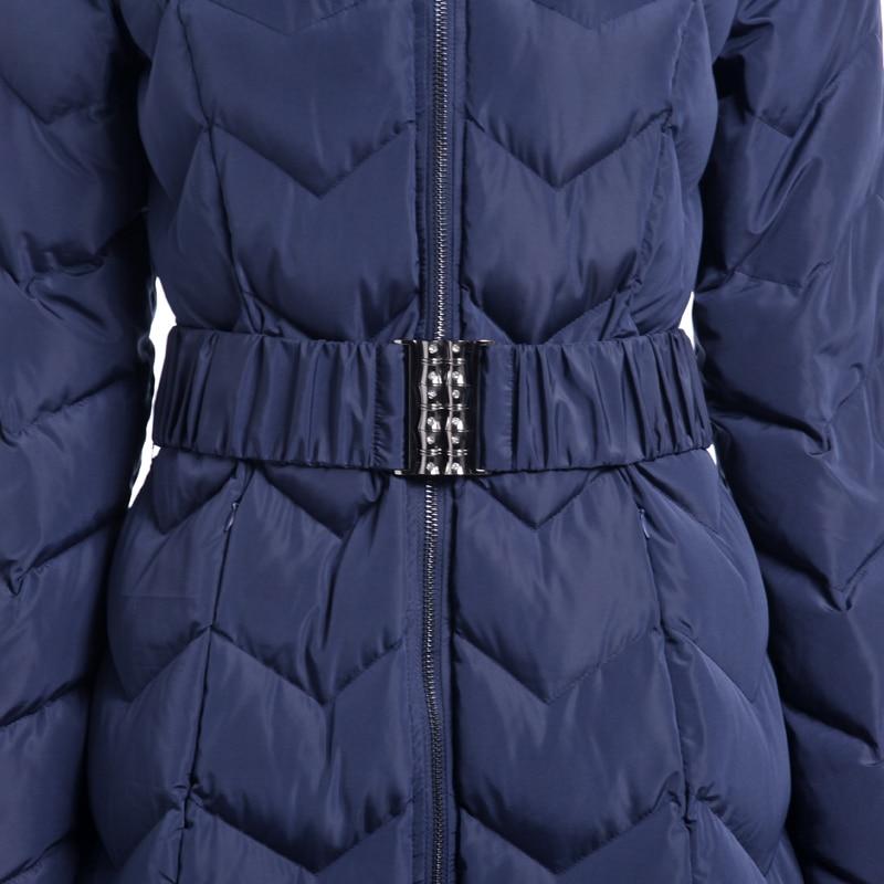 Capuchon À Épais Mode Fourrure 2018 long Parkas Femmes Chaud Blue Nouvelle X D'hiver Slim Z015 Manteau De Avec Outwear Veste Royal Ceinture Femelle Wn8Anz0Fq