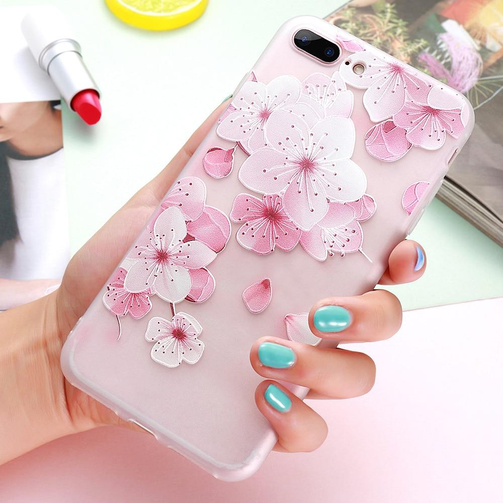 KISSCASE 3D Relief Flower Case for iPhone 8 7 iPhone 6 Case Sex - Բջջային հեռախոսի պարագաներ և պահեստամասեր - Լուսանկար 3