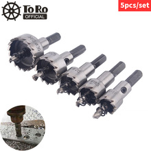 цена на TORO 5pcs Hole Saw HSS Drill Bit Drilling Hole Cut Tool with 16/18.5/20/25/30mm Hole Saw Cutter for Installing Locks Door Knobs