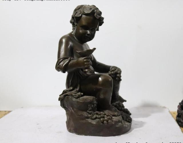 Statue en pierre de Bronze de louest   Siège nu, pour enfant et enfant garçon, Sculpture artistique, décoration de raisin