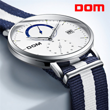DOM Mens Watches Top Brand Luxury Multi Function Sport Quartz Watch Waterproof Nylon belt Business Clock Wrist Men