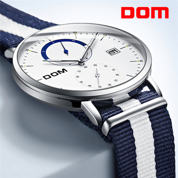 цена DOM Mens Watches Top Brand Luxury Multi Function Mens Sport Quartz Watch Waterproof Nylon belt Business Clock Wrist Watch Men онлайн в 2017 году