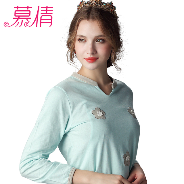 MUQIAN maternity clothes cotton sleep wear pregnancy open up breastfeeding sleep lounge maternity cotton floral underwear