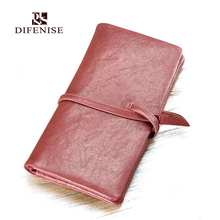 Difenise Men and women's Genuine First Layer Cowhide Leather Wallets Fashion Unisex Solid Leather Clutch man String Wallet