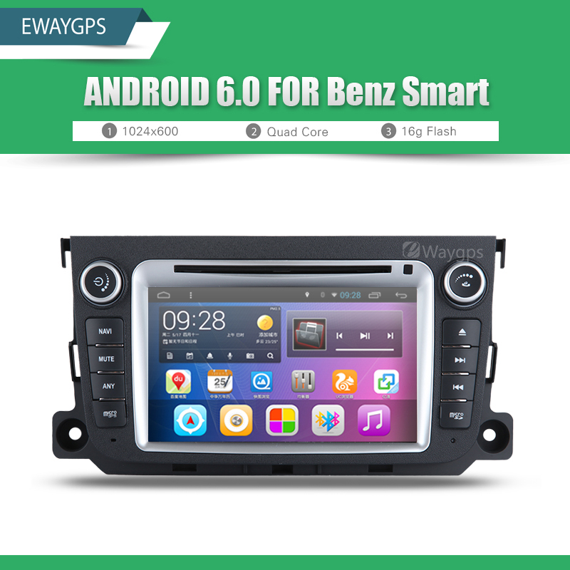 Android 6.0 QuadCore Car DVD Player Radio For Mercedes Benz SMART Bluetooth GPS wifi Navigation Steering Wheel Control EW828P6QH dongxin mercedes benz sl65 speed remote control steering wheel 1 18 car drift charge black