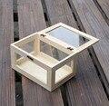 Estilo Zakka caja de almacenamiento de vidrio/cubierta de vidrio de cristal caja de joyería de madera caja de escritorio orgainzer