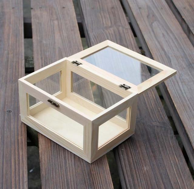 Zakka Стиль коробка для хранения из стекла/стеклянная крышка с стеклянный шкатулка деревянная коробка стол органайзера