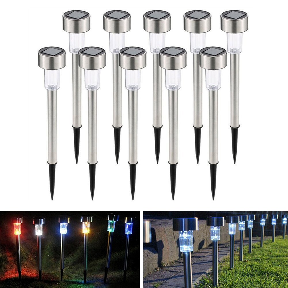 Newly 5/10 Pcs Solar Powered LED Light Stainless Steel Waterproof Lawn Lamp For Outdoor Garden Courtyard XSD88