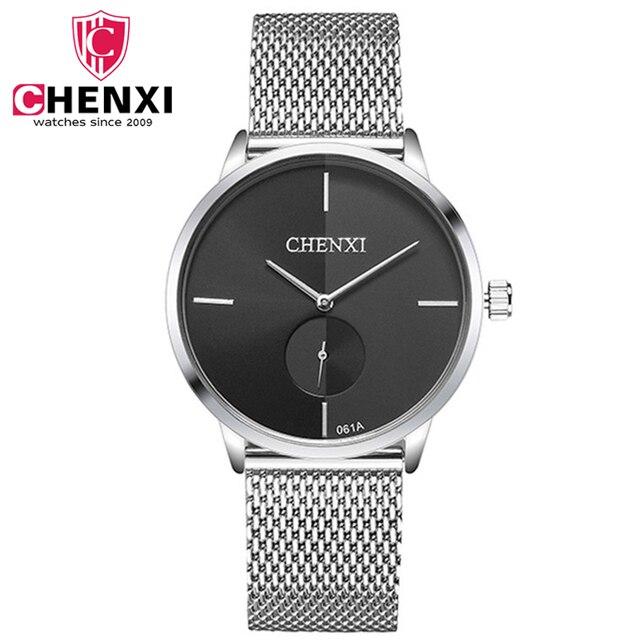 d41123f44ca Novo Relógio CHENXI Relógios do Amante da Moda Cinta De Malha De Prata  Simples relógio de