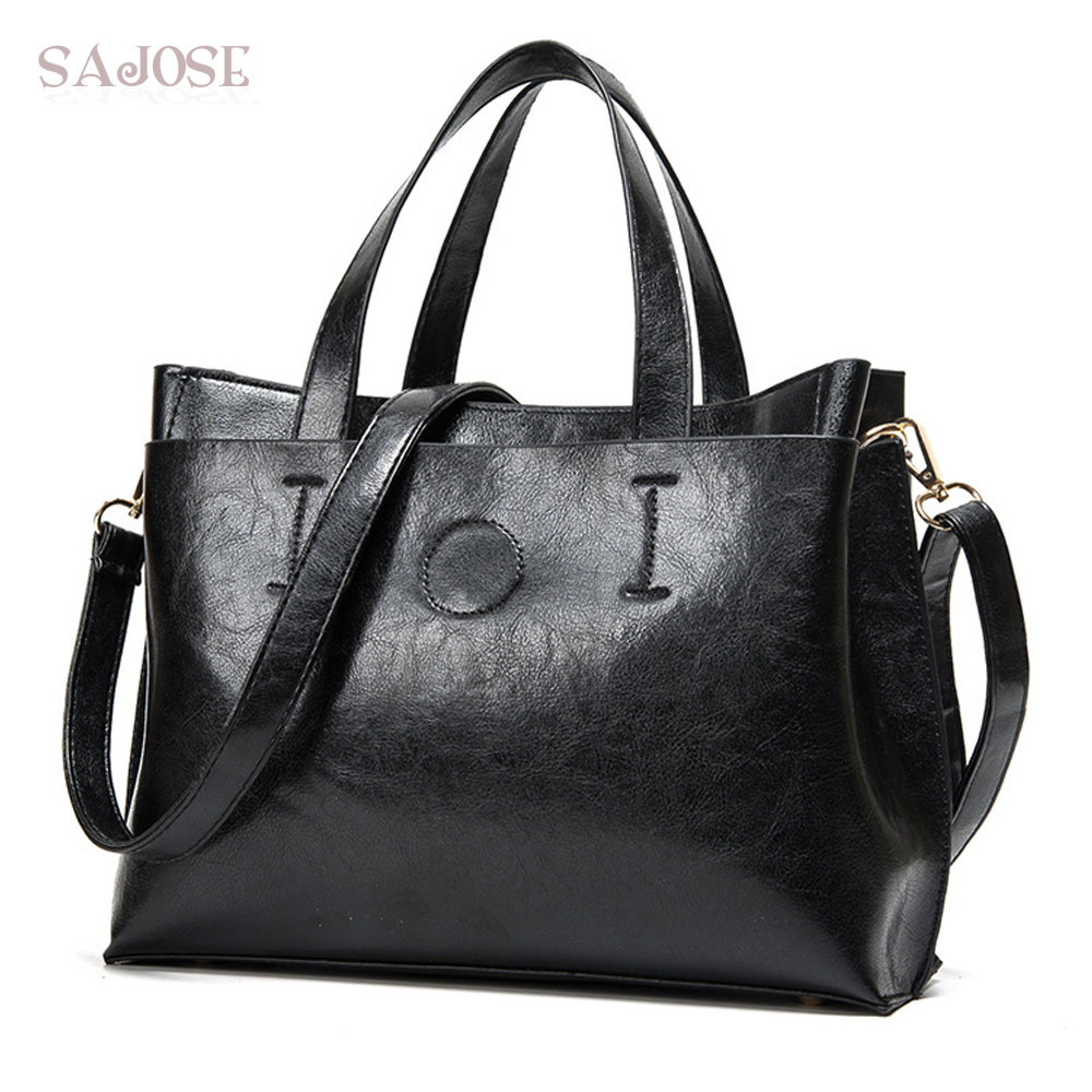 Leather Bags Women Totes Bag Handbag Ladies Fashion Simple Famous Brand Black Women's Shoulder Messenger Bag Drop Shipping new genuine leather women bag messenger bags casual shoulder bags famous brand fashion designer handbag bucket women totes 2017