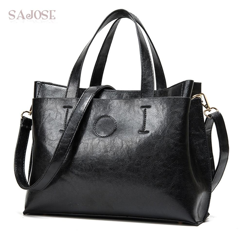 Leather Bags Women Totes Bag Handbag Ladies Fashion Simple Famous Brand Black Women's Shoulder Messenger Bag Drop Shipping