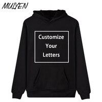MULYEN Novelty Custom Made Design Hoodies Men Women Unisex Plain LOGO DIY Sweatshirt Customized Fleece Hip