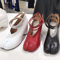Prova Perfetto genuine leather ninja piglet split toe shoes women pumps chunky high heel ankle strap buckle single shoes women