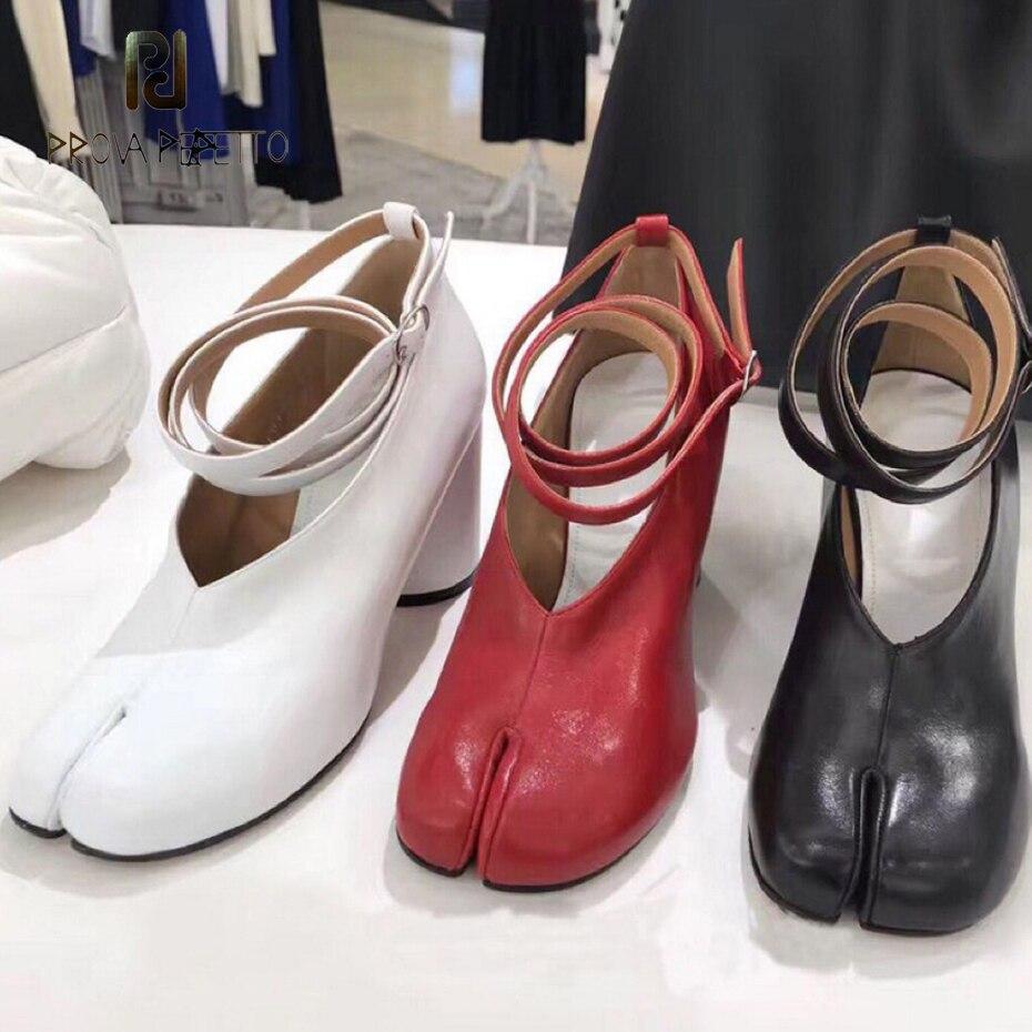Prova Perfetto véritable en cuir ninja porcelet scission orteil chaussures femmes pompes chunky haut talon bride à la cheville boucle chaussures simples femmes