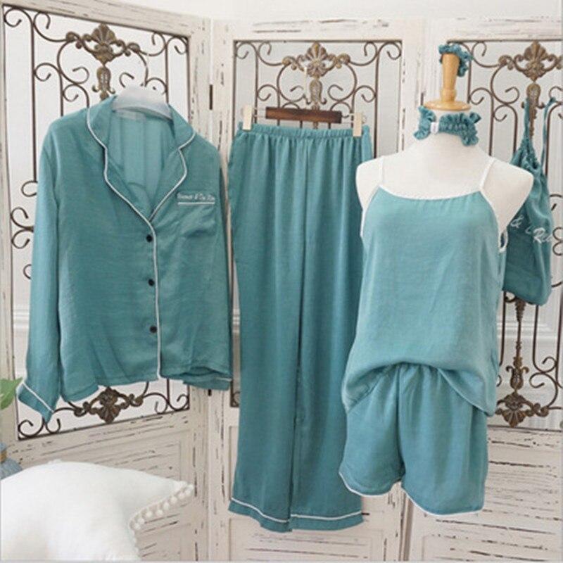 7PCS Set Women Pajamas Set Cotton Stitch Sleepwear Sexy Shorts lingerie Cotton Pyjama 2019 Spring Top Fashion Sleepwears in Pajama Sets from Underwear Sleepwears