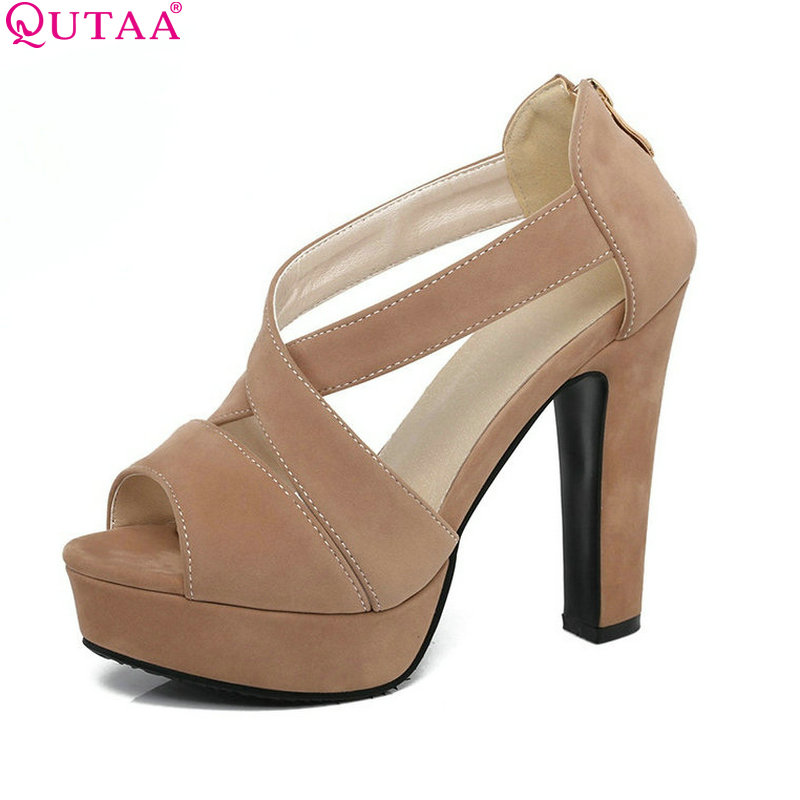 все цены на QUTAA 2017 Women Pump Summer Ankle Strap Ladies Shoe Square High Heel Peep Toe Apricot PU Leather Woman Wedding Shoes Size 34-43 в интернете