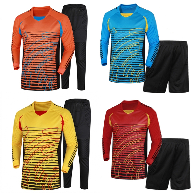 2386d07cc5d Men Football Goalkeeper Jersey Kit College Jerseys Soccer Tracksuit  Goalkeeper Uniforms Clothes Suit Training Clothing Pants-in Soccer Sets  from Sports ...