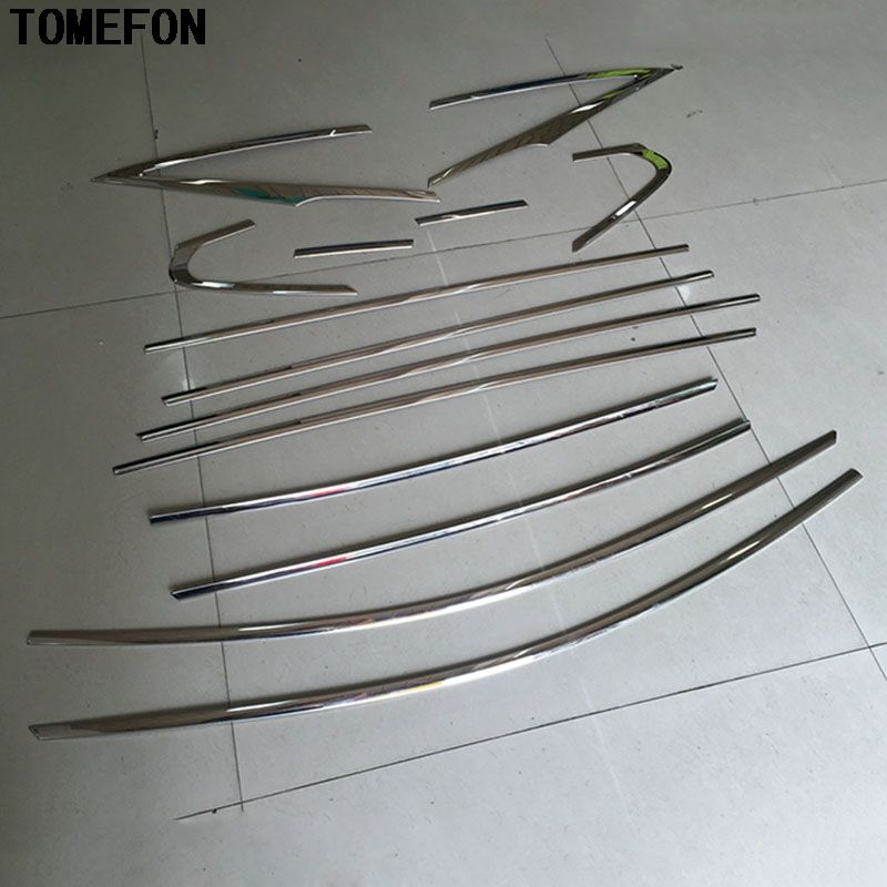 For Toyota Prius XW50 2016 2017 Stainless Steel Full Window Molding Trim glass strips Frame Sill Trim  14pcs stainless steel upper window frame sill trim 8pcs for fusion mondeo 2013 2014