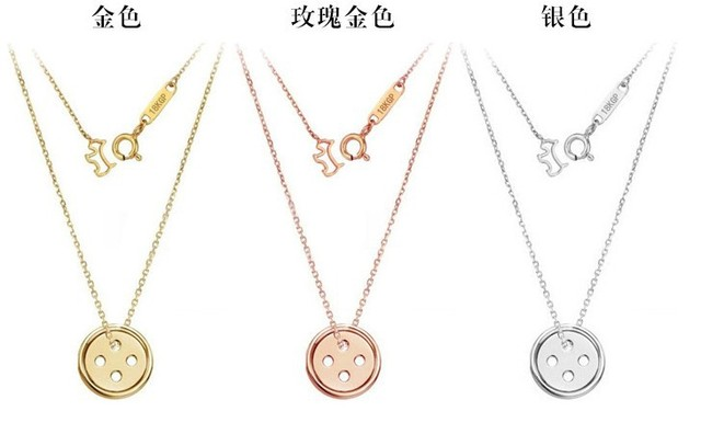 Titanium steel pinocchio lucky button necklace park shin hye 3 titanium steel pinocchio lucky button necklace park shin hye 3 color in gift box high negle Images