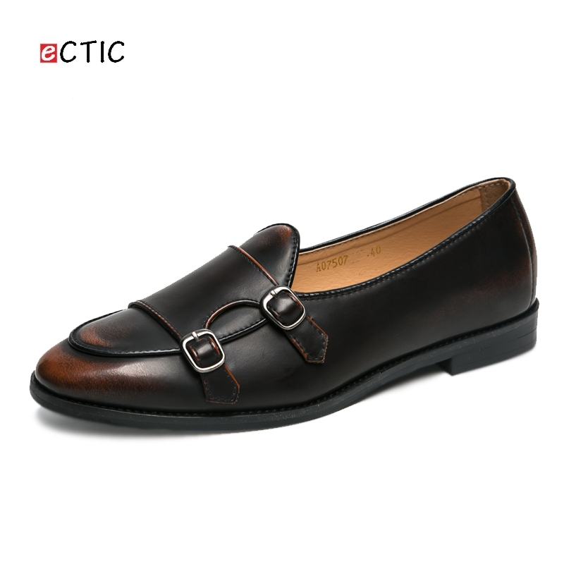 fe2c424c7d US $25.99 49% OFF|Ectic Buckle Strap Loafers For Men Dress Shoes Mocassini  Casual Flats Microfiber Double Strap Adult Zapatos Hombre Dropshipping-in  ...