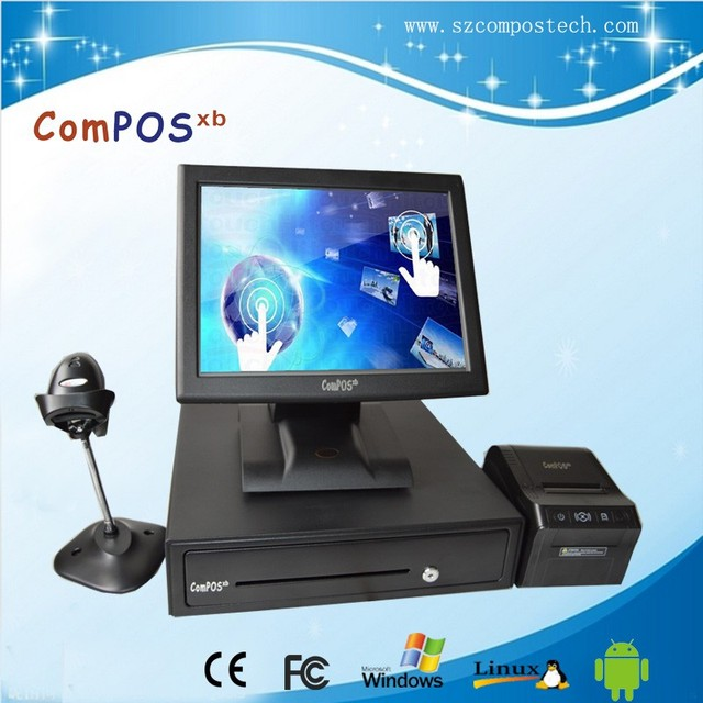 Free Shipping 15 Inch POS system With Card Reader Thermal Printer Barcode Scanner