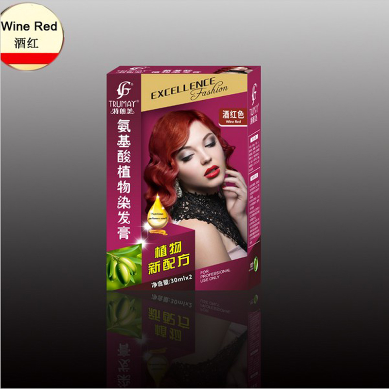 Professionalize Personal Wine Red Color Permanent Super Dye Hair Cream Hair Color Non-toxic DIY Hair Style 19colors Coloring