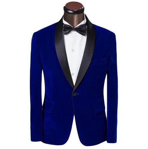 Anzüge & Blazer 2017 Neue Elegante Rot/royal Blue Samt Bräutigam Smoking Jacke Schwarz Revers Mens Blazer Slim Fit Anzug Männer Hochzeit Anzüge Mit Hosen V1