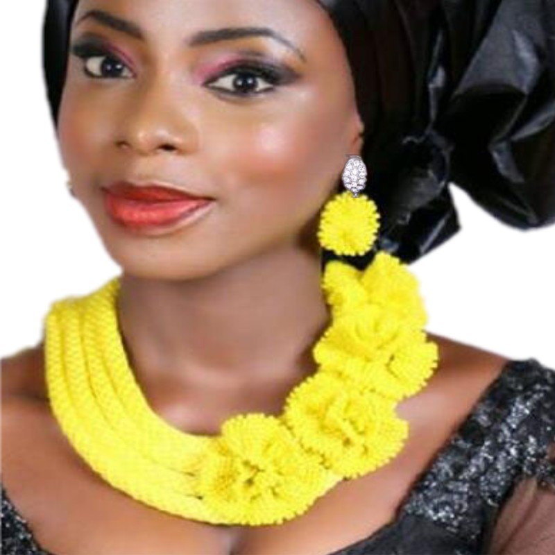 Luxury Dubai jewelry Set Bridal Gold Yellow Color Nigerian African Wedding beads Sets 4 Layers Braid Flowers Necklace Set 2018Luxury Dubai jewelry Set Bridal Gold Yellow Color Nigerian African Wedding beads Sets 4 Layers Braid Flowers Necklace Set 2018