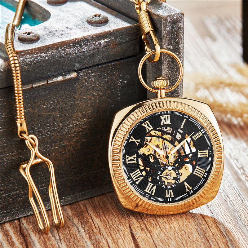 Luxury colorful Polygon Design Mechanical Pocket Watch with FOB Chain Skeleton Steampunk Hand Wind Mechanical Mens Watch
