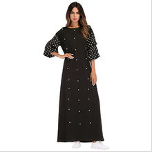 3758a886f90 Muslim Black Dot Abaya Beading Maxi Dress Ethnic Loose Kimono Long Robe  Gowns Ramadan Middle East Arab Islamic Clothing QC348