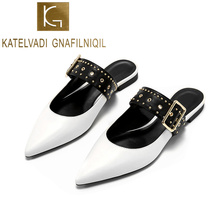 KATELVADI Mules Women Slippers Summer White PU Leather Flats Shoes Buckles Fashion Footwear Outside Slides K-350