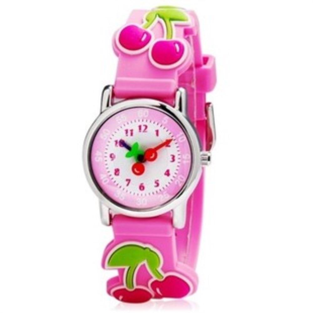 WILLIS Cartoons Quartz Watches Child 3D Cherry CLOCK Children Waterproof Design Analog Clock Kid Fashion Wrist Watch PENGNATATE