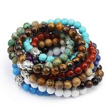 Hot Sale 19cm Natural Stone White Turquoises Black 8mm Beaded Bracelets Buddha Head Charm Bangles for Men Women Party Jewelry(China)