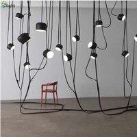 300cm Length Cord Hanging Light Italy Modern Brief Whitel Blck LED Pendant Light DIY Style Painted