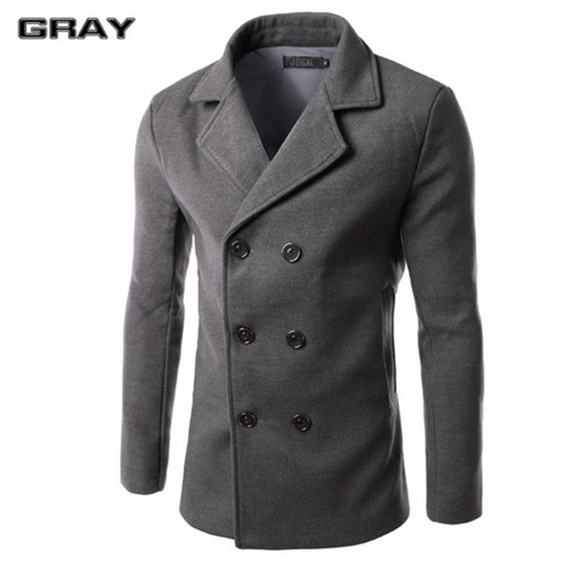 Hot sale solid wool coat men wool & blends casual slim fit double breasted autumn and winter trench coat men