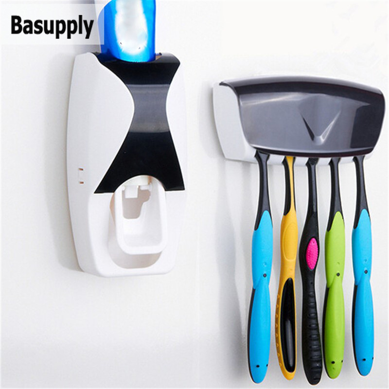 1Set Toothbrush Holder Automatic Toothpaste Dispenser Wall Mount Stand Toothpaste Squeezer Bathroom Accessories Set Dropshipping