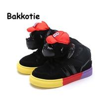 Bakkotie 2017 Spring Autumn Baby Boy Fashion High Top Shoe Cartoon Children Black Sneaker Kid Brand Casual Shoes Comfortabe Soft