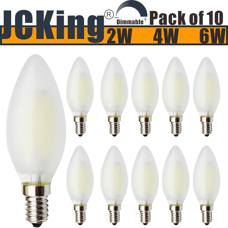 JCKing (Pack of 10) AC 220V 2W/4W/6W E14 Dimmable LED Filament Bulbs LED Frosted Candle Light Bulb, SES Candle Light Bulb