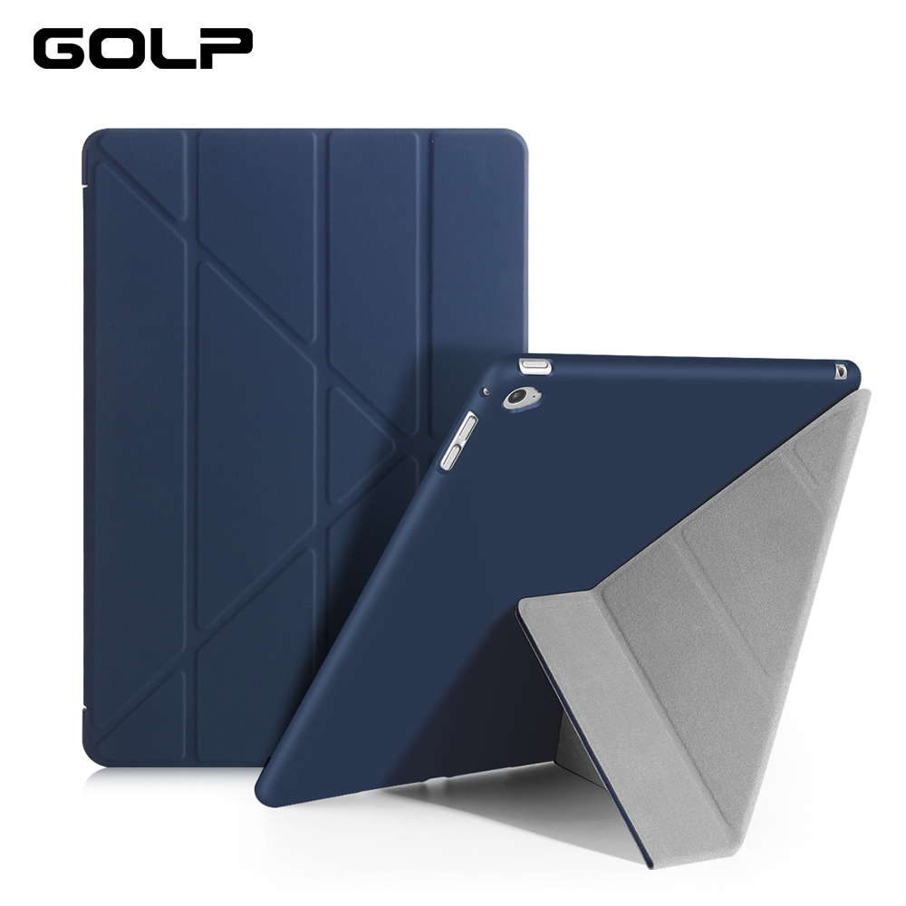 For iPad Air 2 Case , GOLP Ultra Slim PU leather Cover For ipad Air 2 with Transparent PC Back Case for iPad 6 Flip Stand protective pu leather pc flip open case w card slots stand for iphone 6 plus light coffee
