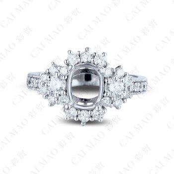 Conjunto Nupcial De Corte De Cojín | Anillo De Compromiso De Piedra Preciosa De Oro Blanco De 18 K De Diamante De CT