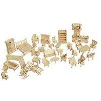 34 adet/takım minyatür 1:12 dollhouse mobilya için bebekler, mini için 3d ahşap bulmaca diy bina model oyuncaklar çocuk hediye