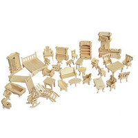 32 Pcs Lot Miniature 1 12 Dollhouse Furniture For Dolls Mini 3D Wooden Puzzle Jiasaws Intelligence