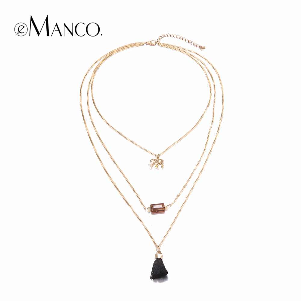 eManco Statement Tassel Link Chain Necklace Gold-color Multi-layer Zinc Alloy Collar Necklaces Pendant Jewelry