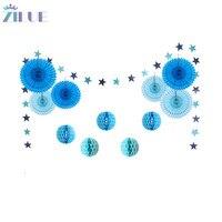 Zilue 12 Teile/satz Blue Star Papiergirlande Wabenbälle Fans Blumen Rad Tissue Für Baby Shower Birthday Party Hochzeitsdekor