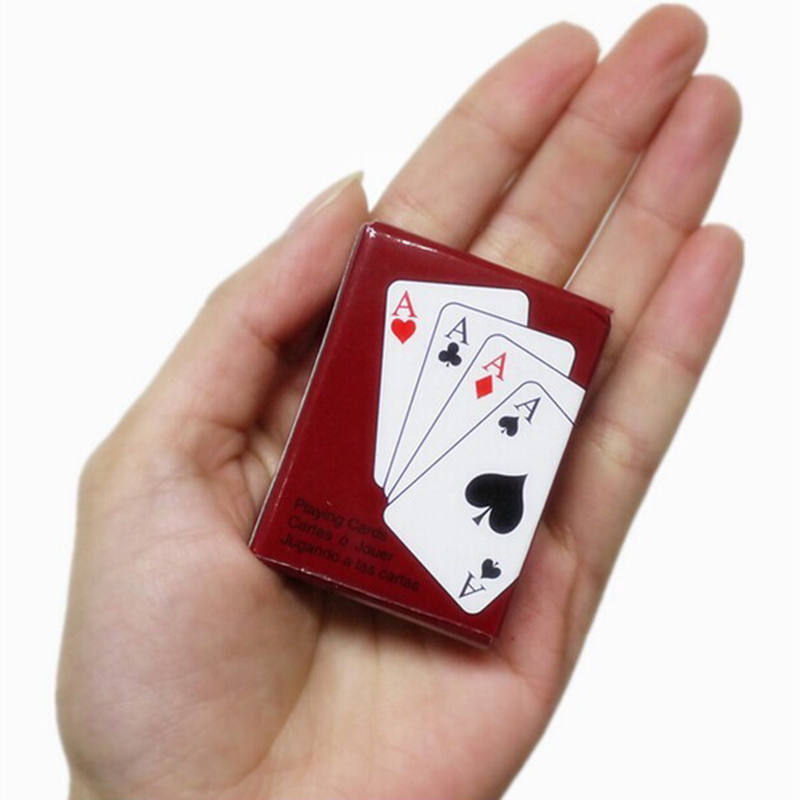 Paper Mini Playing Poker Cards Interesting Portable Poker Card Travel Board Gambling Party Game Mini cards 5.3 x 3.8 cm